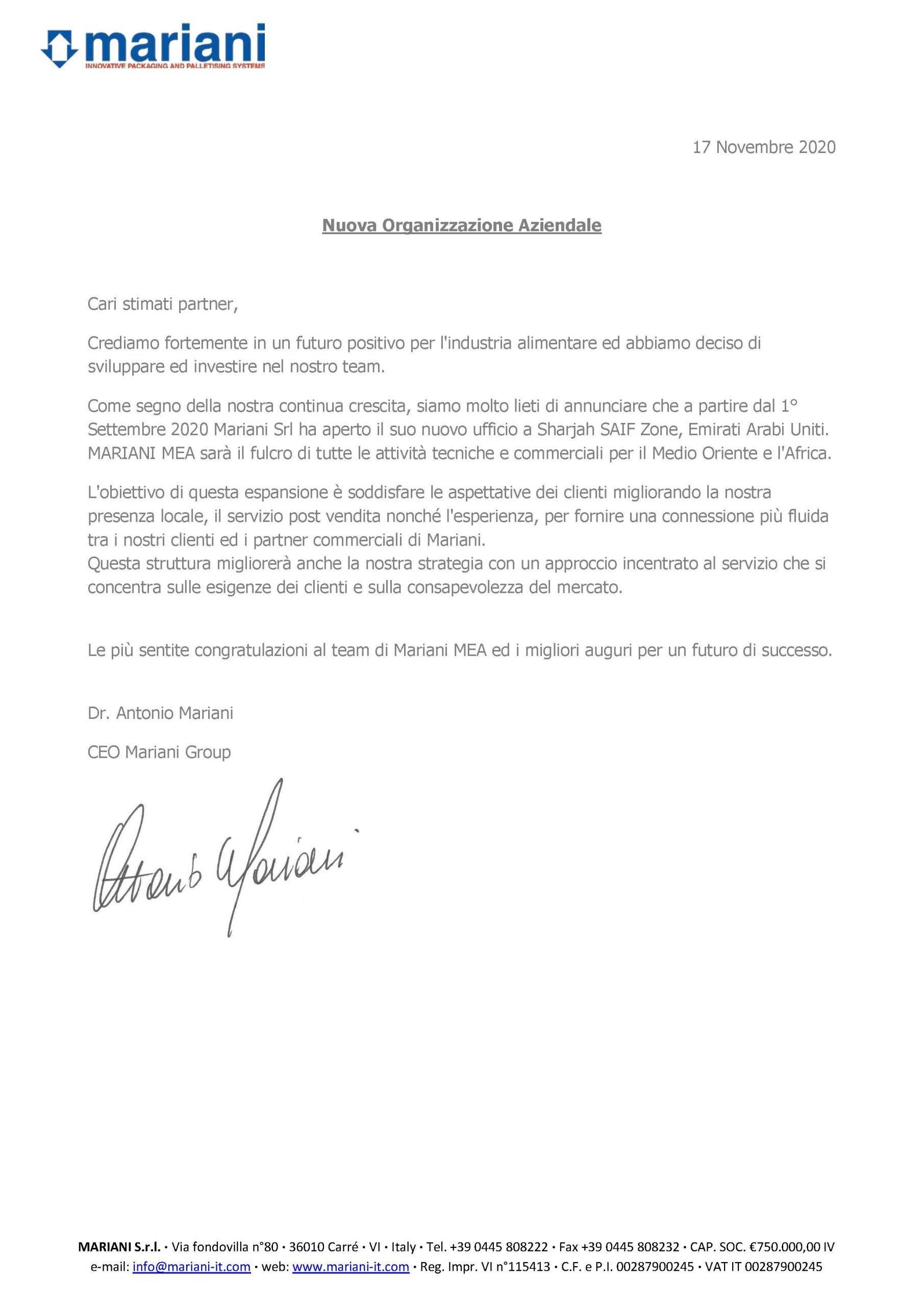 Nuova organizzazione aziendale - Mariani Srl
